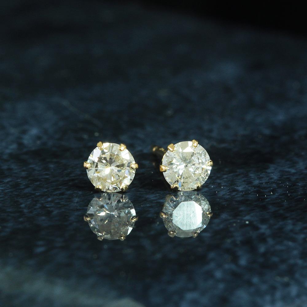 【鑑別書付】0.15ct 0.15ct 計 0.3ct ダイヤモンド K18 イエローゴールド ピアス 4月誕生石 //