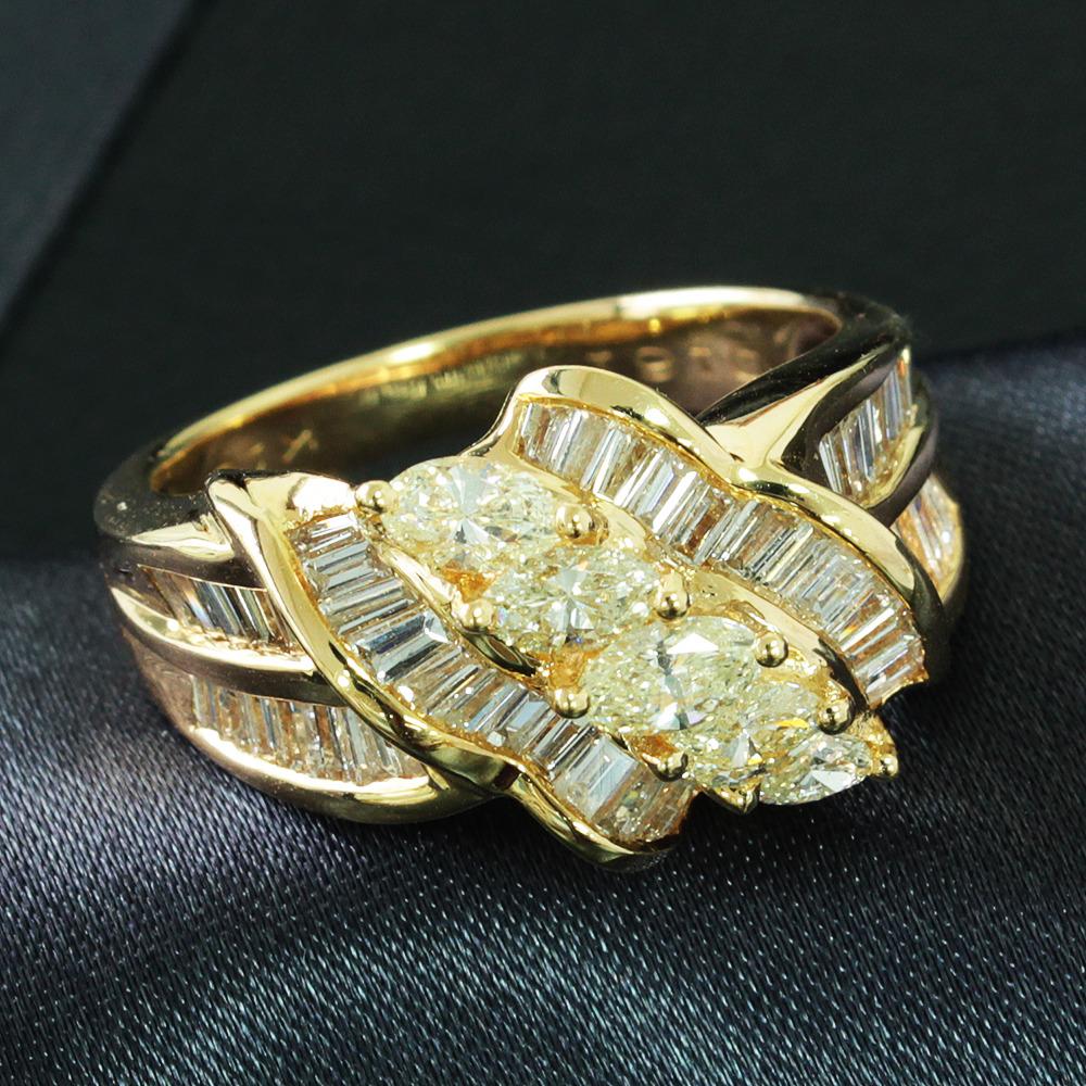 【鑑別書付】 1.6ct ダイヤモンド K18YG イエローゴールド ボリューム リング 指輪 4月誕生石// 【コンビニ受取対応商品】
