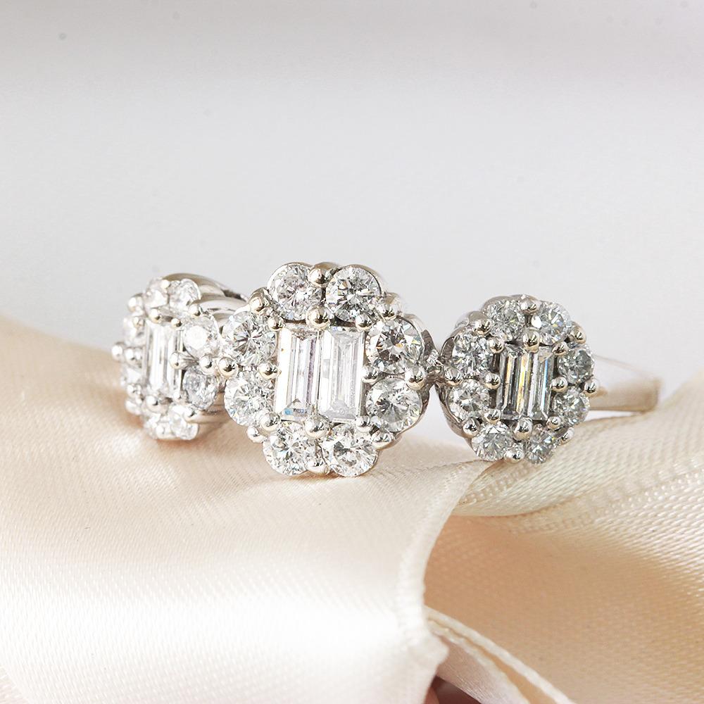 【鑑別書付】 計 0.9ct ダイヤモンド K18 ホワイトゴールド デザイン リング 指輪 4月誕生石// 【コンビニ受取対応商品】
