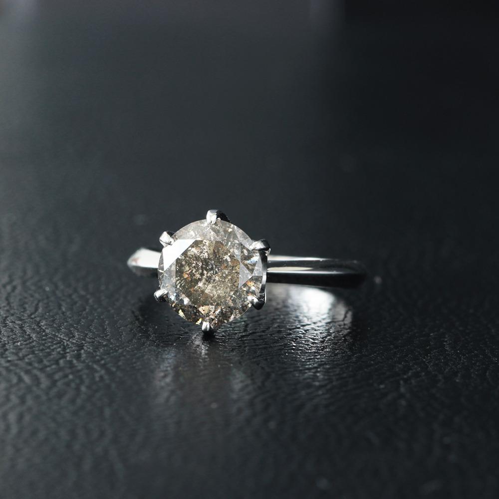 【鑑定書付】2.5ct Light Brown Good ダイヤモンド Pt900プラチナ リング 指輪 4月誕生石// 【コンビニ受取対応商品】