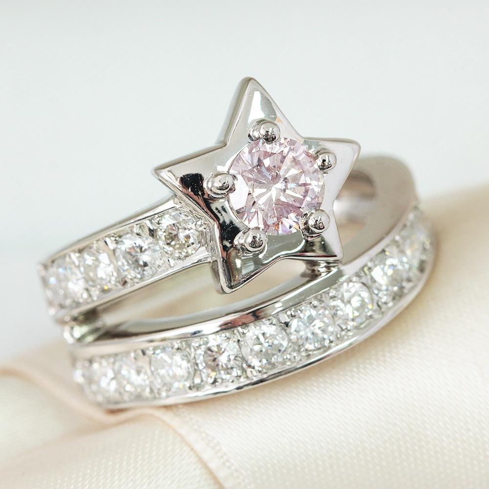 【鑑定書付】 0.4ct ピンクダイヤモンド 1ct ダイヤモンド Pt900 スター リング 指輪 4月誕生石// 【コンビニ受取対応商品】