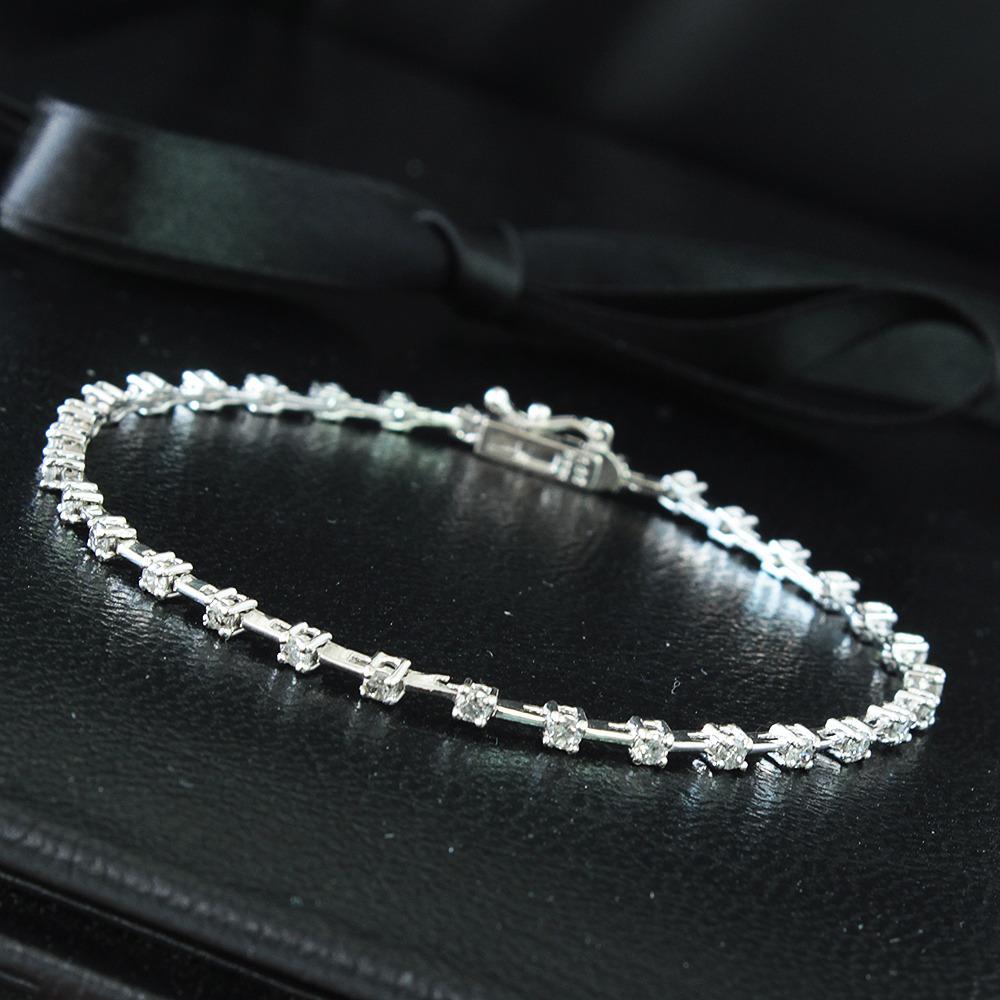【鑑別書付】1ct ダイヤモンド K18 ホワイトゴールド ステーション ブレスレット 4月誕生石// 【コンビニ受取対応商品】