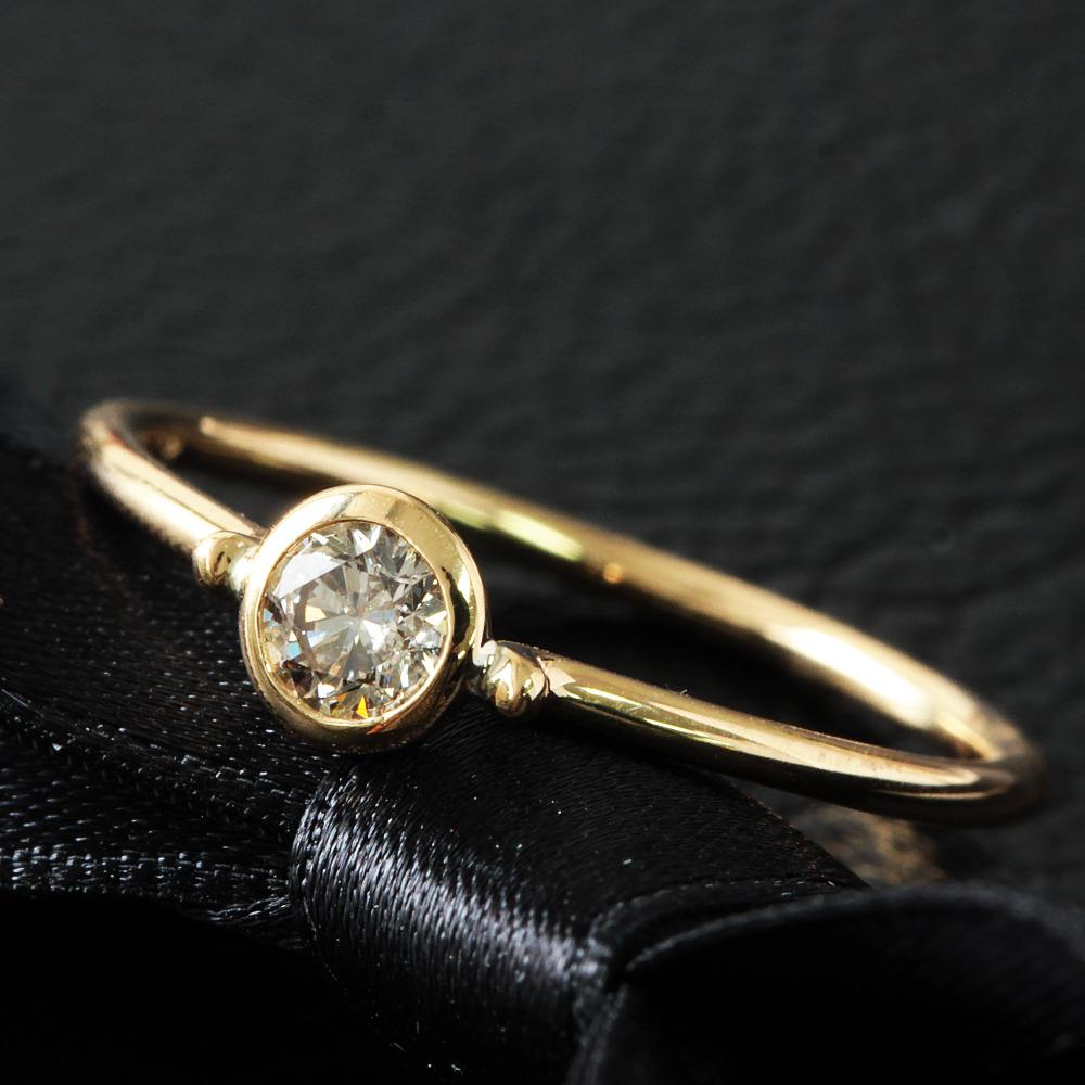 【鑑別書付】 0.2ct ダイヤモンド K18 イエローゴールド バイザヤード リング 18金 指輪 4月誕生石// 【コンビニ受取対応商品】