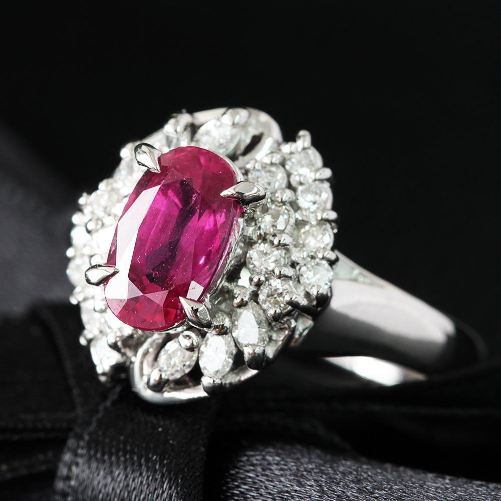【鑑別書】1.1ct ルビー 0.2ct ダイヤモンド Pt850 プラチナ リング 指輪 7月誕生石// 【コンビニ受取対応商品】