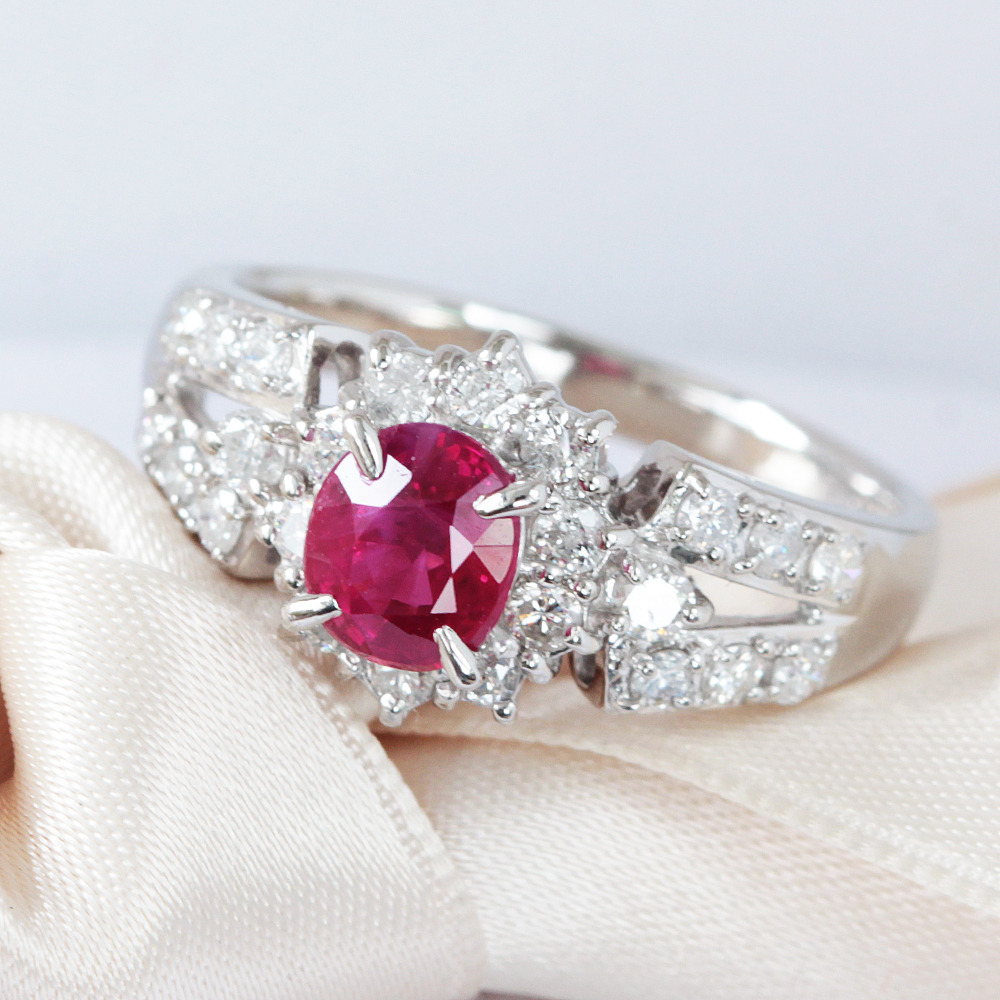 【鑑別書】1ct ルビー 0.5ct ダイヤモンド Pt900 プラチナ リング 指輪 7月誕生石// 【コンビニ受取対応商品】