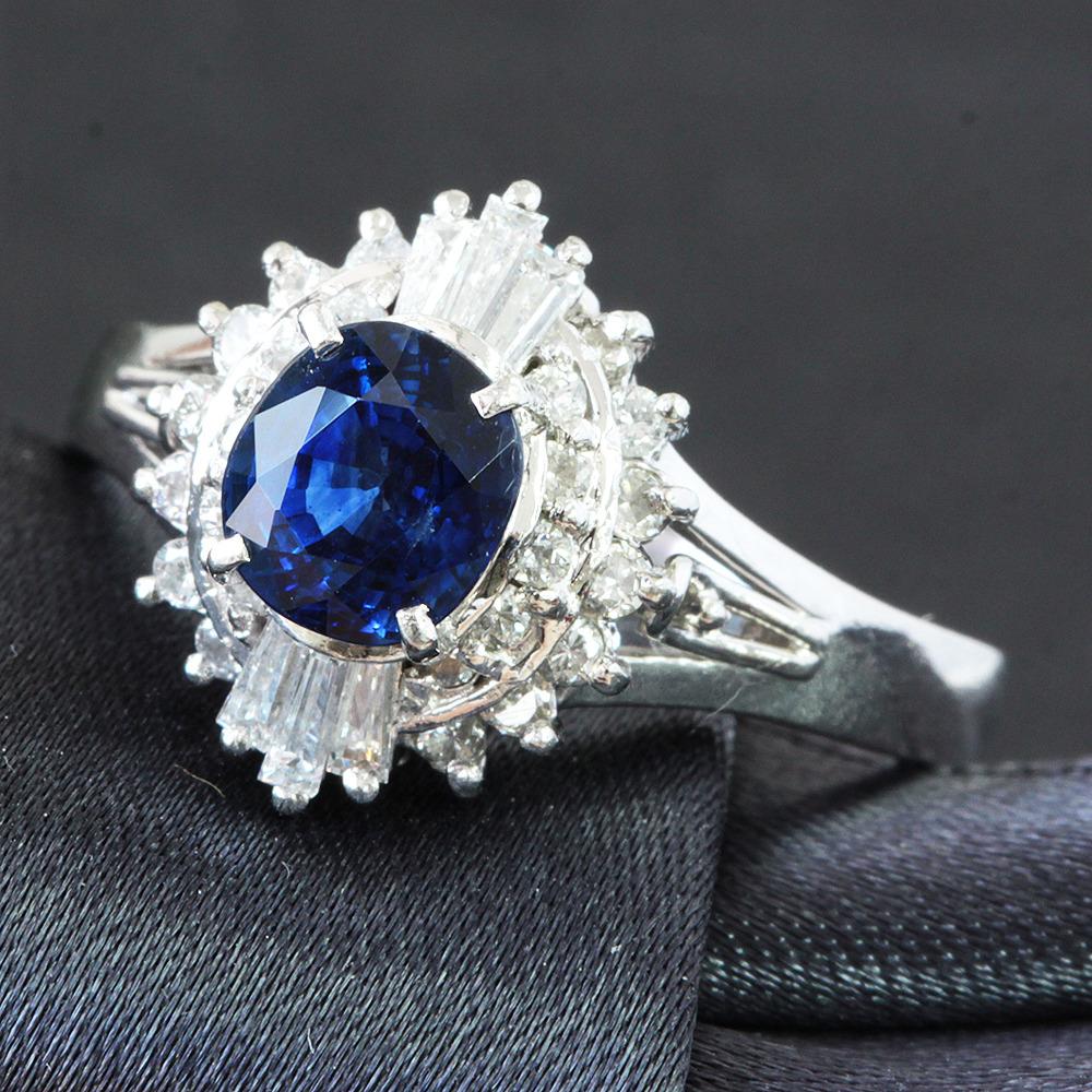 【鑑別書付】1ct ロイヤルブルー サファイア 0.4ct ダイヤモンド Pt900 リング 指輪 9月誕生石//