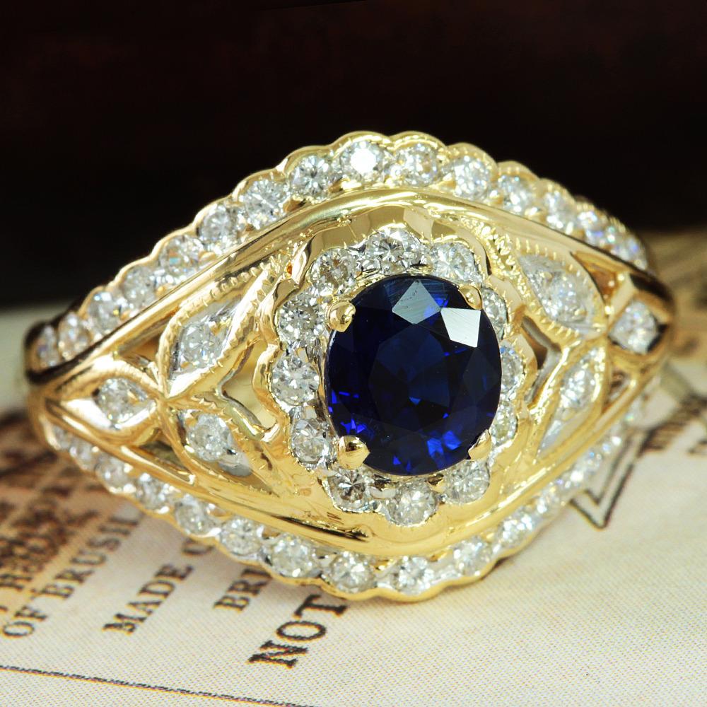 【鑑別書付】 1ct ロイヤルブルーサファイア 0.5ct ダイヤモンド K18 イエローゴールド リング 指輪 9月誕生石// 【コンビニ受取対応商品】