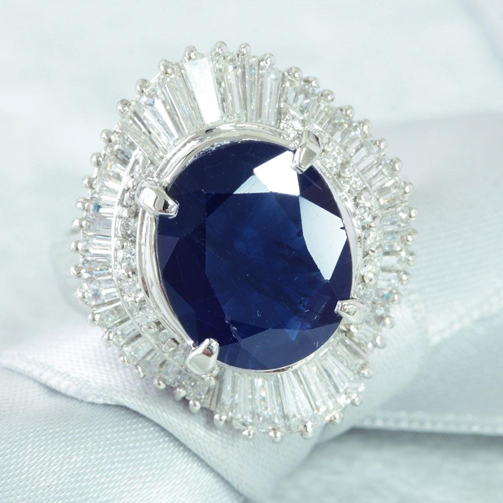 【鑑別書付】5ct サファイア 1.5ct ダイヤモンド Pt900 リング 指輪 9月誕生石//
