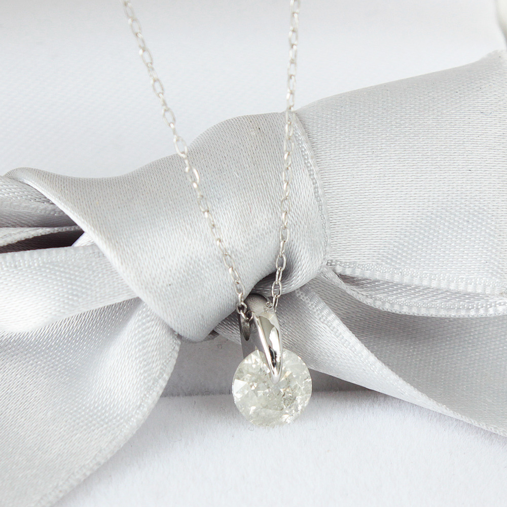 【鑑定書付】0.9ct ダイヤモンド Iカラー Pt900 プラチナ ペンダント ネックレス 4月誕生石 【コンビニ受取対応商品】