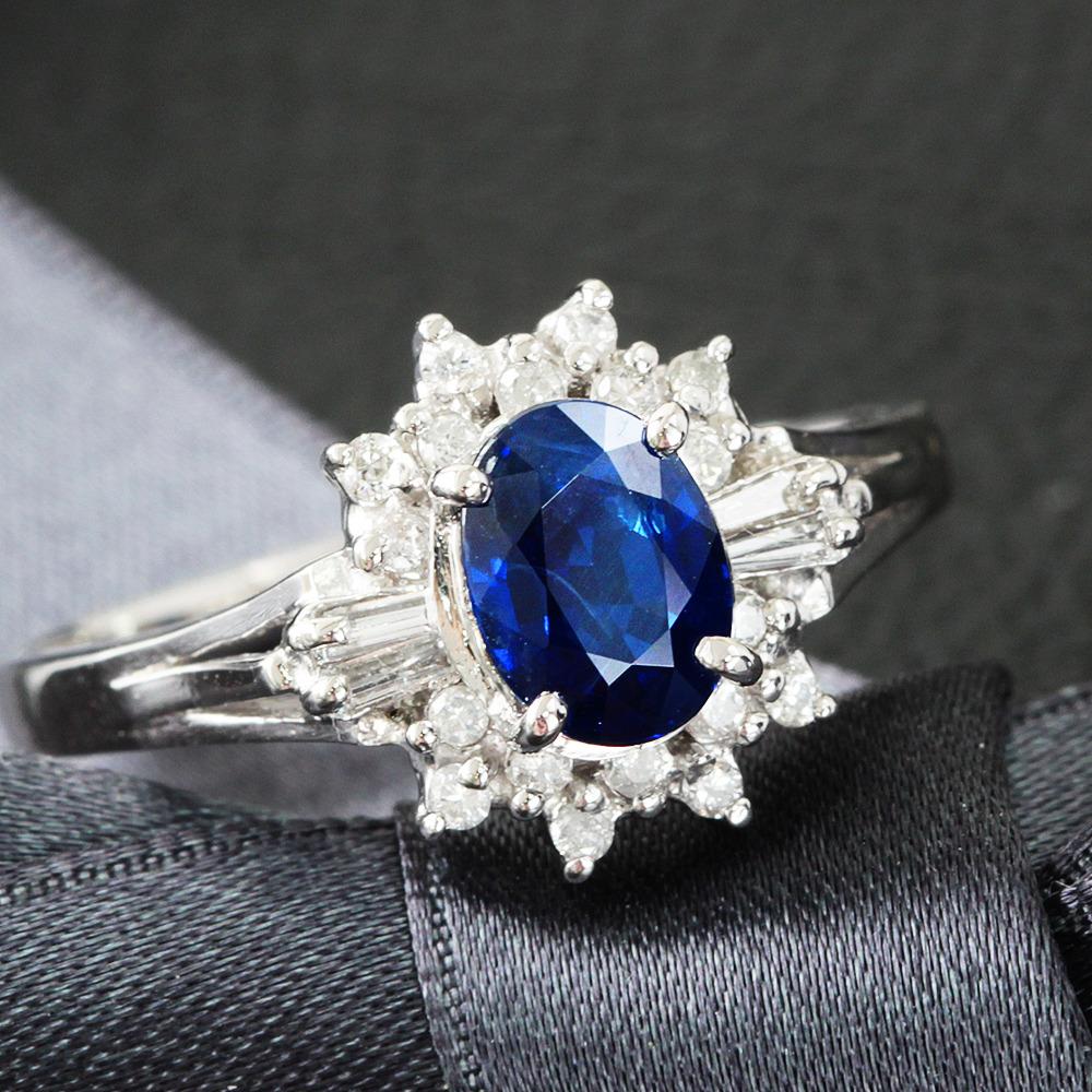 【鑑別書付】1.15ct ロイヤルブルー サファイア 0.2ct ダイヤモンド Pt900 リング 指輪 9月誕生石//