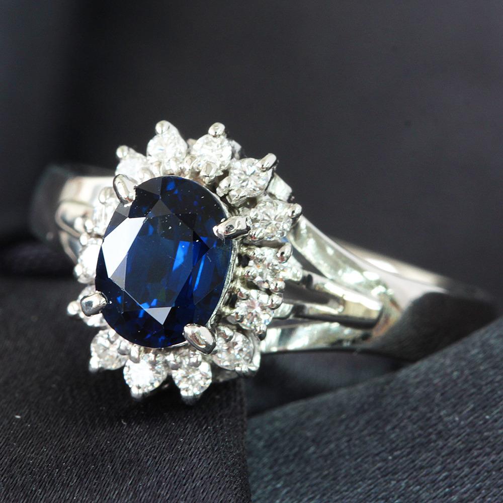 【鑑別書付】1.3ct ロイヤルブルー サファイア 0.2ct ダイヤモンド Pt900 リング 指輪 9月誕生石//