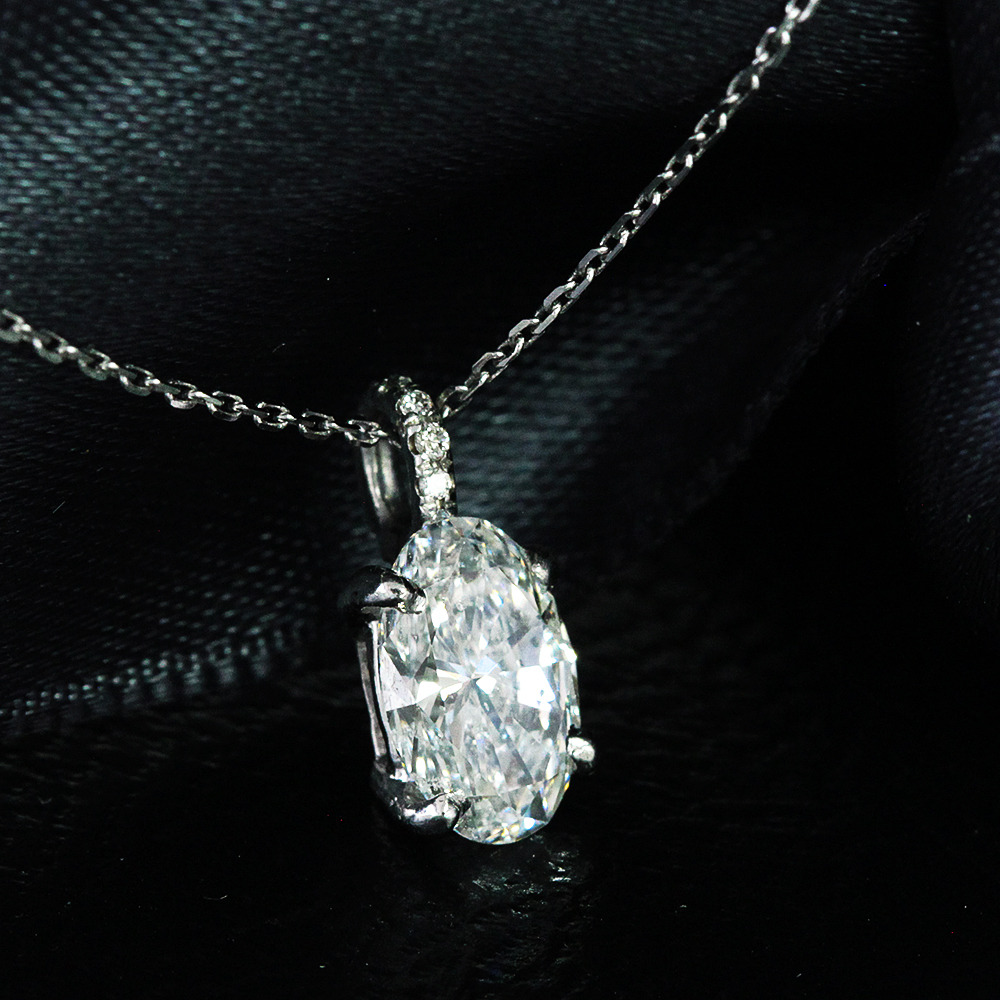 【GIA鑑定書付】0.59ct D SI2 Ex ダイヤモンド K18WG ネックレス ペンダント 4月誕生石// 【コンビニ受取対応商品】