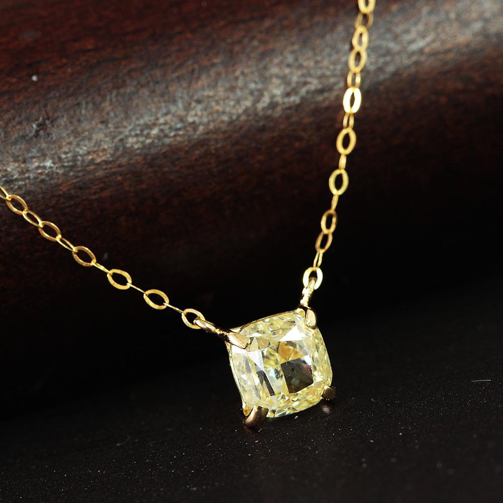 【中宝鑑定書付】 1ct SI-2 L.Yellow ダイヤモンド K18 イエローゴールド ネックレス ペンダント 4月誕生石//