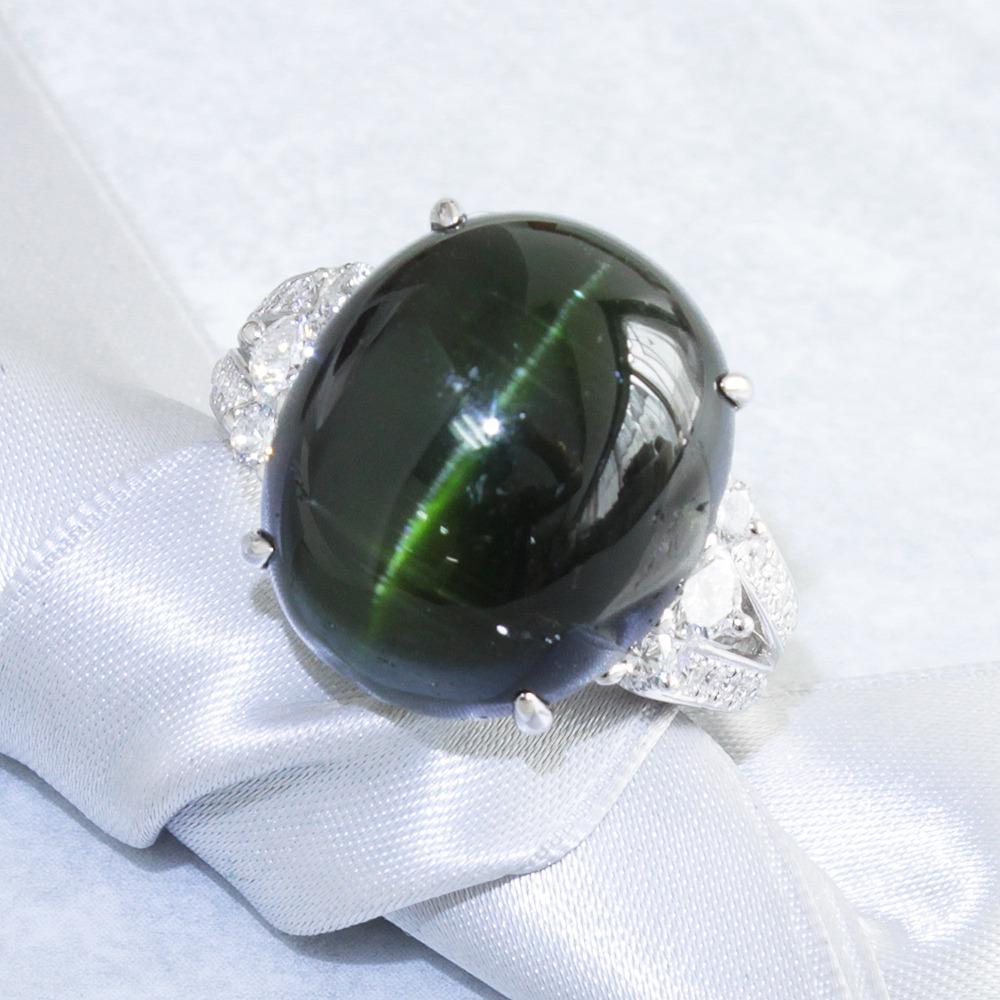 【鑑別書付】 20ct トルマリンキャッツアイ 0.6ct ダイヤモンド Pt900 プラチナ リング 指輪 【コンビニ受取対応商品】