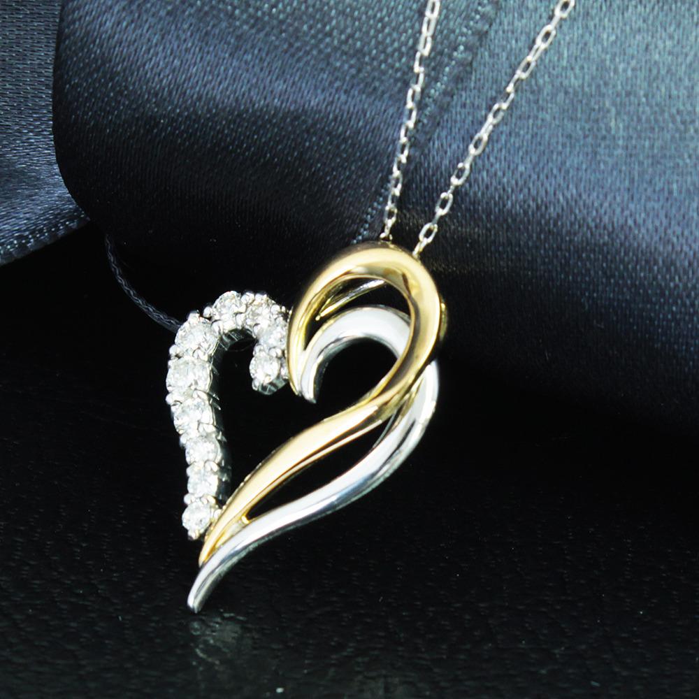 【鑑別書付】 0.2ctダイヤモンド K18 イエローゴールド ホワイトゴールド ネックレス ペンダント 4月誕生石//