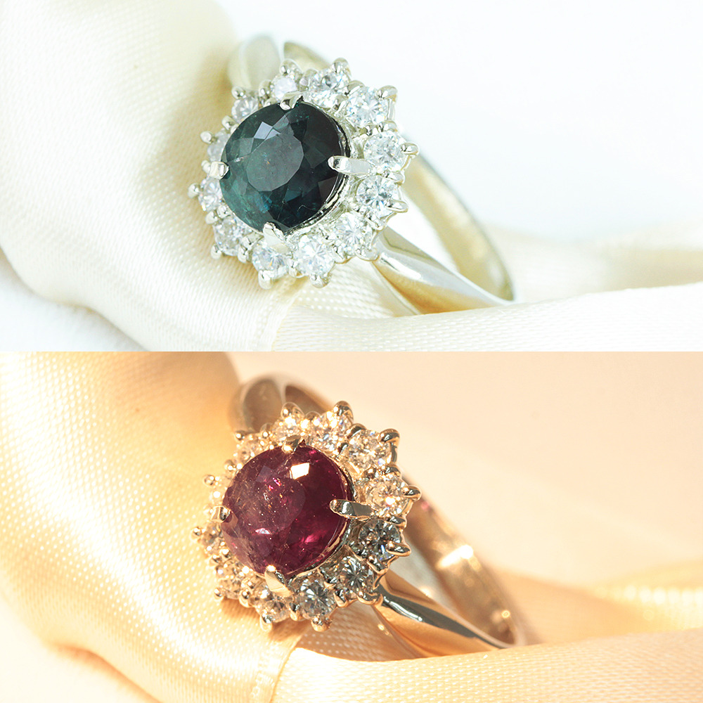 【鑑別書付】 1.3ct アレキサンドライト 0.3ct ダイヤモンド Pt850 プラチナ リング 指輪// 【コンビニ受取対応商品】