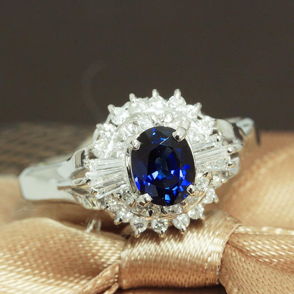 【鑑別書付】0.6ct ロイヤルブルー サファイア 0.3ct ダイヤモンド Pt900 リング 指輪 9月誕生石//