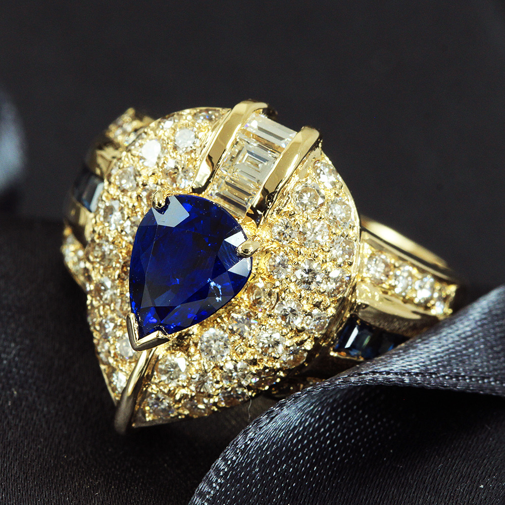 【鑑別書付】 1.5ct ロイヤルブルーサファイア 0.9ct ダイヤモンド K18 イエローゴールド リング 指輪 9月誕生石// 【コンビニ受取対応商品】