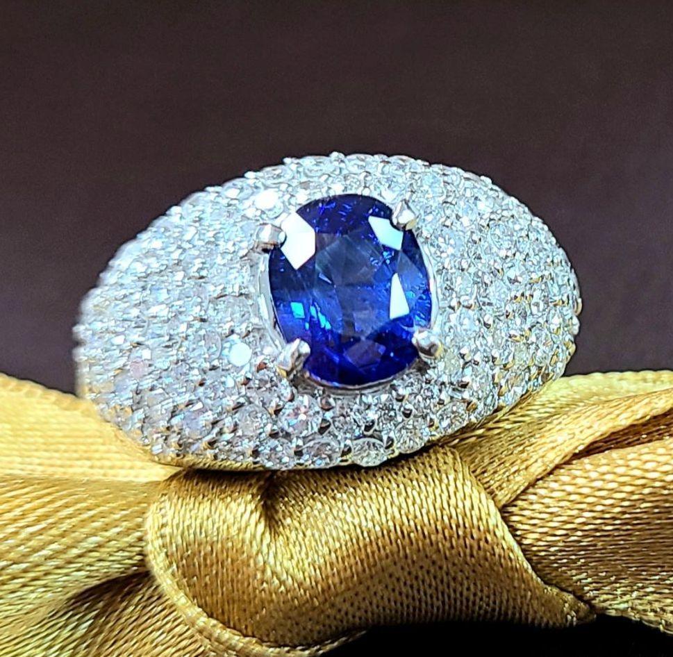 【鑑別書付】2ct ロイヤルブルー サファイア 1.7ct ダイヤモンド パヴェ Pt900 リング 指輪 9月誕生石//