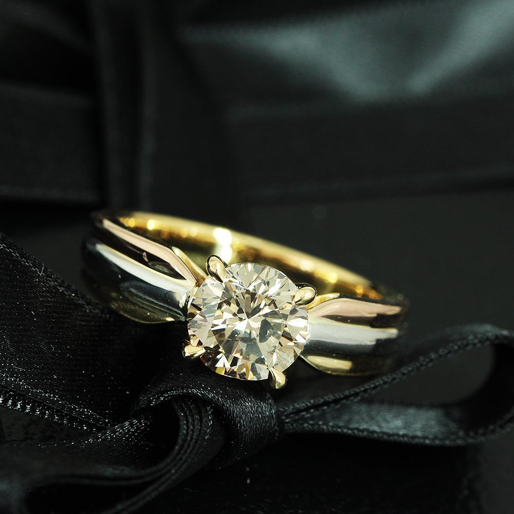 【鑑定書付】1.9ct V.L.Brown ダイヤモンド K18 Pt スリーカラー リング 指輪 4月誕生石//