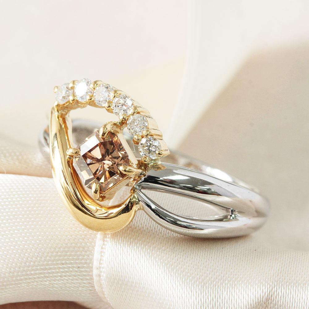 【鑑定書付】 計 0.4ct SI-2 ダイヤモンド デザイン Pt K18 コンビ リング 指輪 4月 誕生石// 【コンビニ受取対応商品】