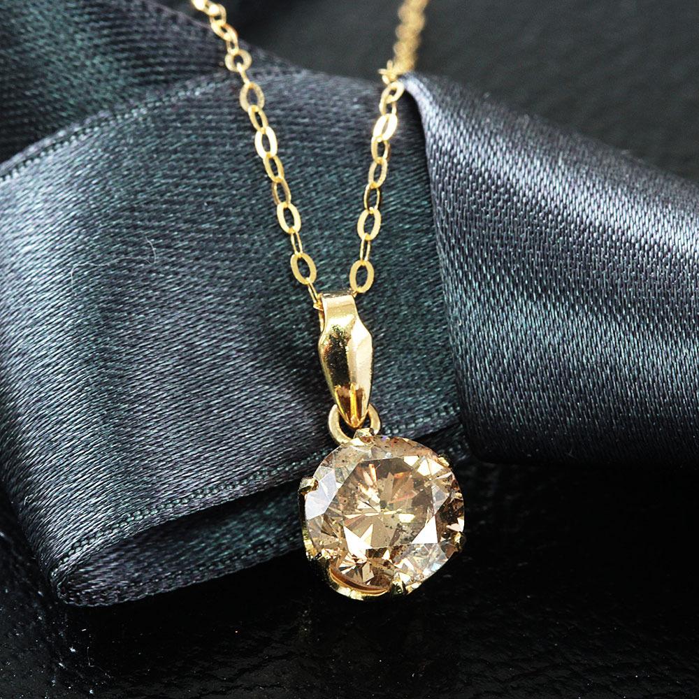 【鑑定書付】 1ct SI-2 Good ダイヤモンド K18 イエローゴールド ネックレス ペンダント 4月誕生石//