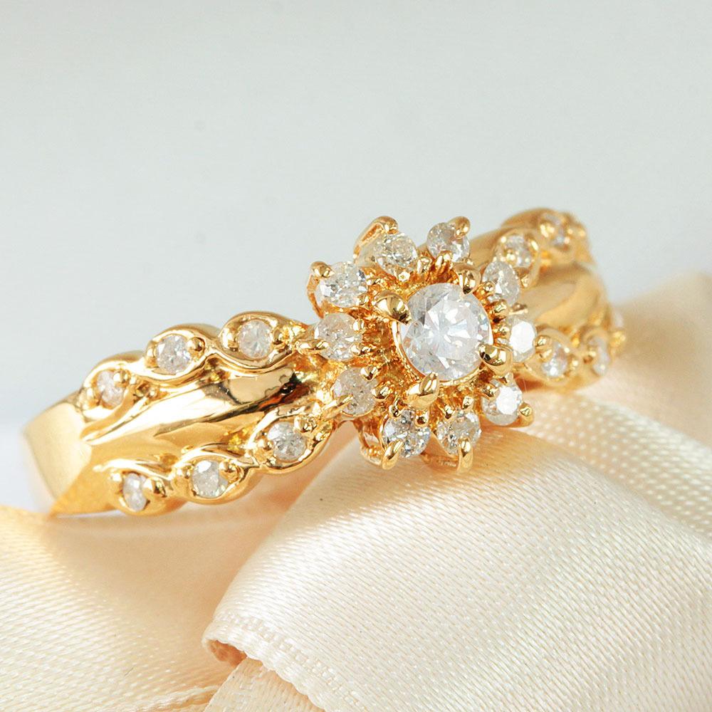 【鑑別書付】 計0.3ct ダイヤモンド K18 イエローゴールド クラシカル リング 指輪 4月誕生石