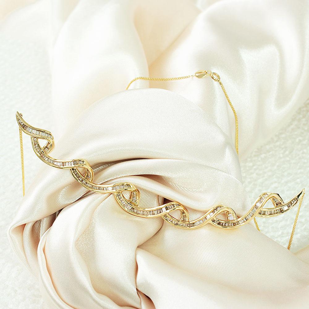 【鑑別書付】 3.6ct ダイヤモンド K18 イエローゴールド デザイン ネックレス ペンダント 4月誕生石//
