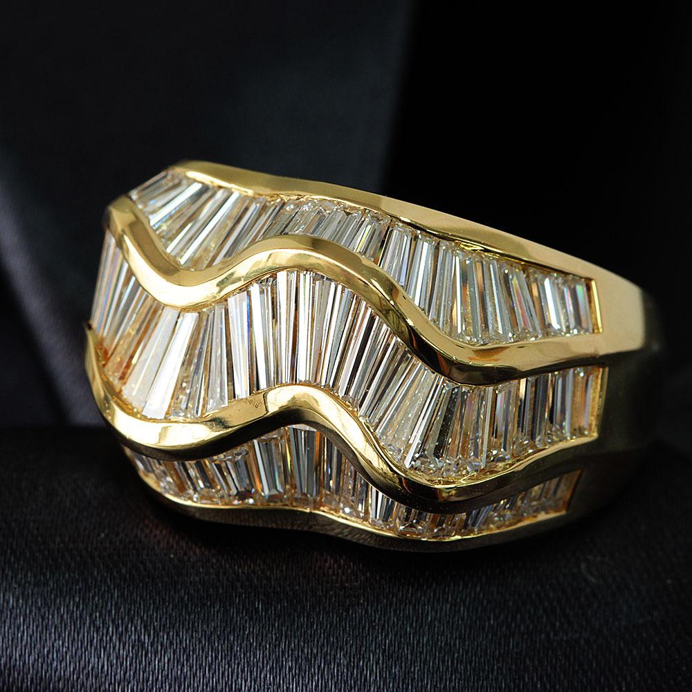 【鑑別書付】 5ct ダイヤモンド K18YG イエローゴールド ボリューム リング 指輪 4月誕生石// 【コンビニ受取対応商品】