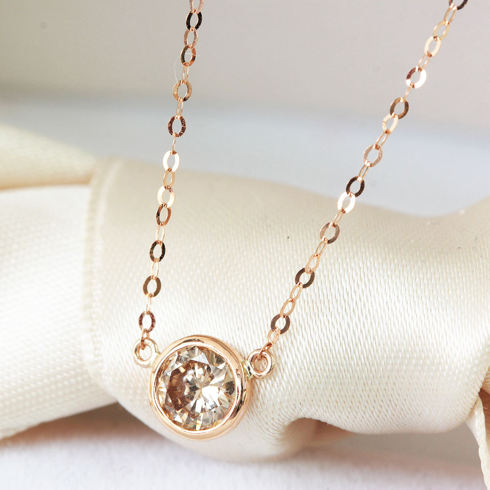 【鑑別書付】 0.3ct ダイヤモンド K18 ピンクゴールド バイザヤード ネックレス ペンダント 4月誕生石 18金 【コンビニ受取対応商品】
