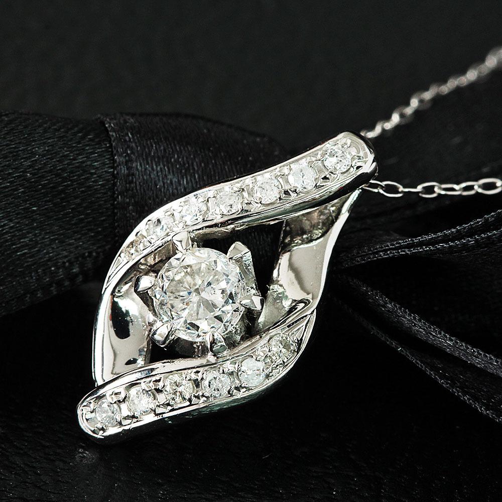 【鑑別書付】0.5ct 無色 SI 相当 ダイヤモンド Pt900 プラチナ ペンダント ネックレス 4月誕生石//