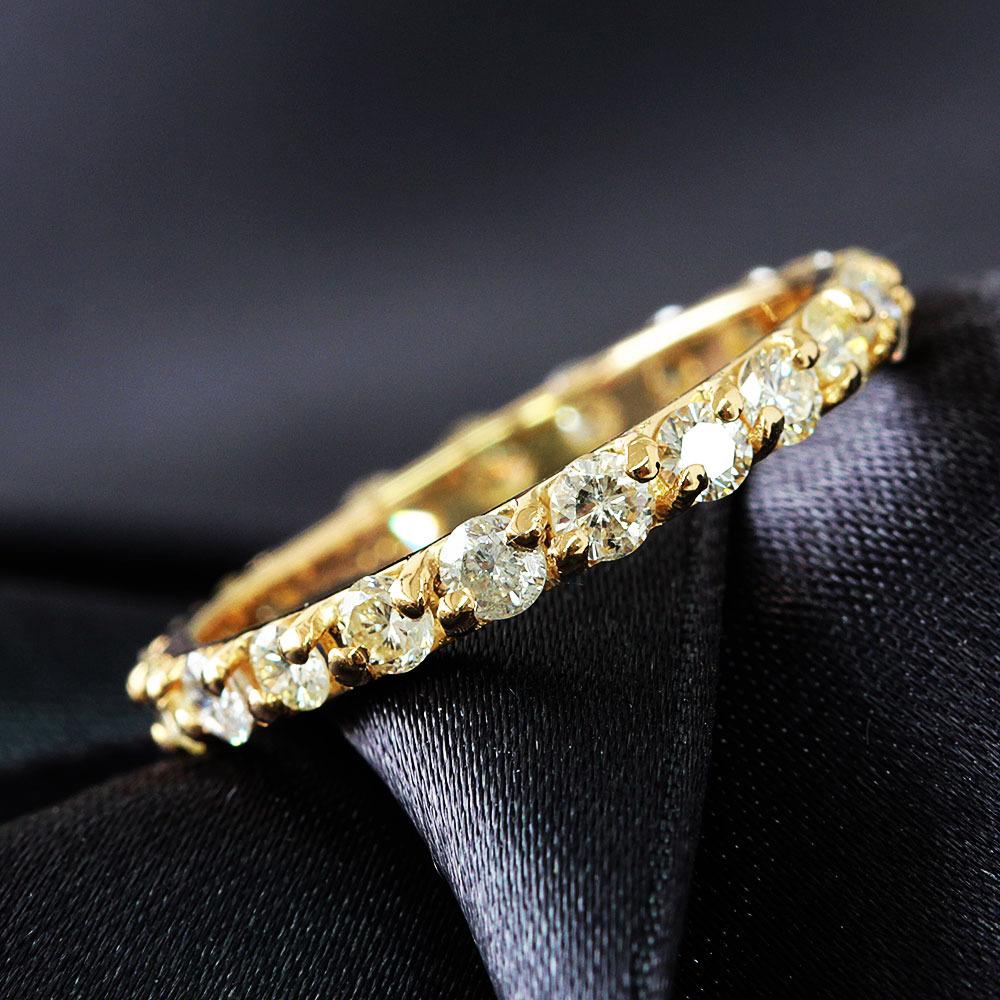 【鑑別書付】1ct ダイヤモンド K18 イエローゴールド フルエタニティ リング 一文字 指輪 4月誕生石