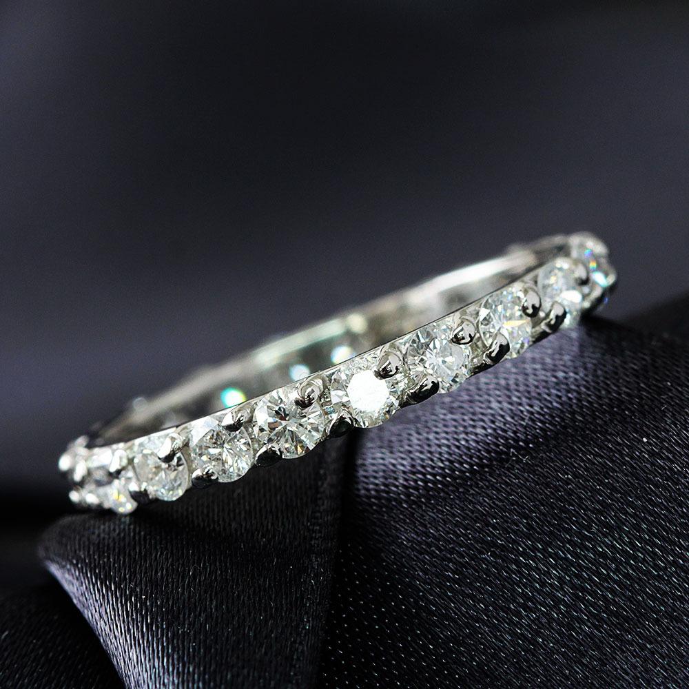 【鑑別書付】1ct ダイヤモンド Pt900 プラチナ フルエタニティ リング 一文字 指輪 4月誕生石