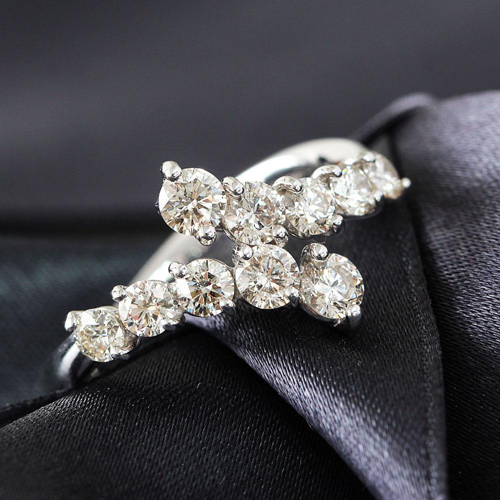 【鑑別書付】計 1ct ダイヤモンド K18 ホワイトゴールド スィート10 リング 指輪 4月誕生石// 【コンビニ受取対応商品】
