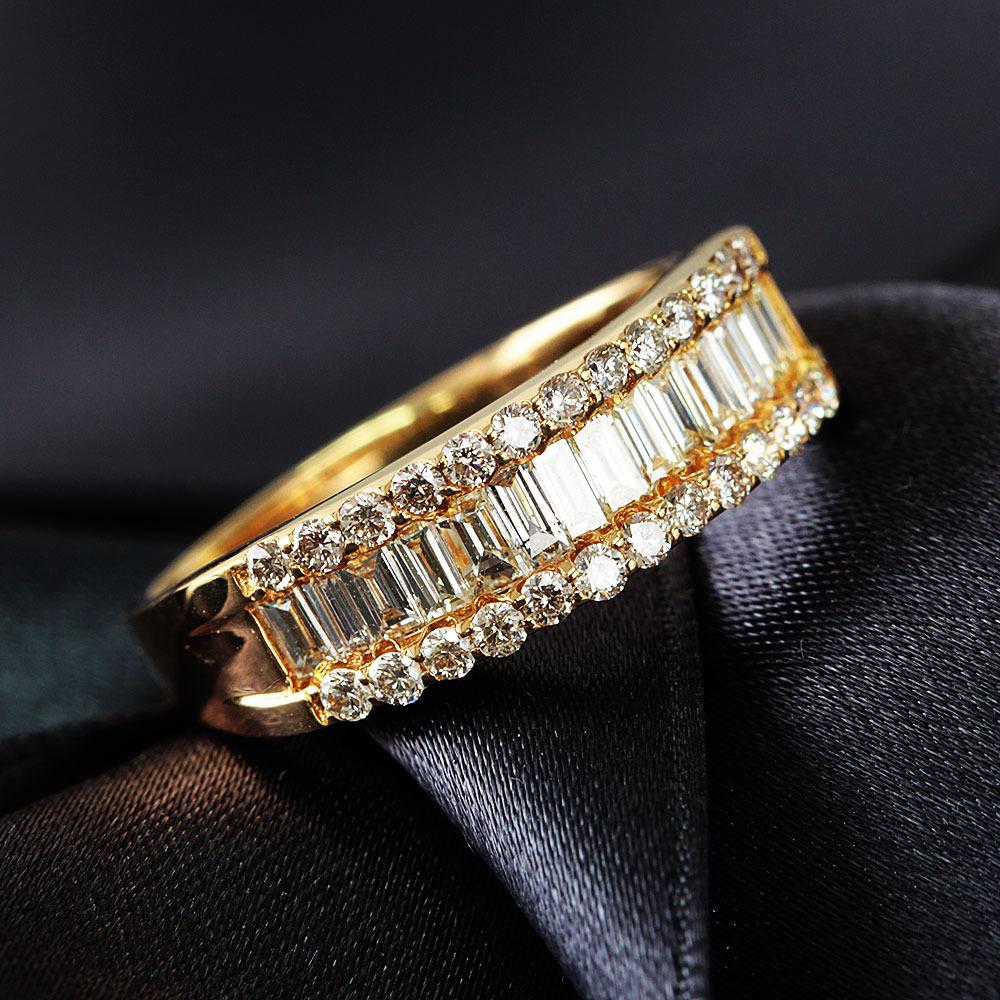 【鑑別書付】 1ct ダイヤモンド K18YG イエローゴールド デザイン リング 指輪 4月誕生石// 【コンビニ受取対応商品】