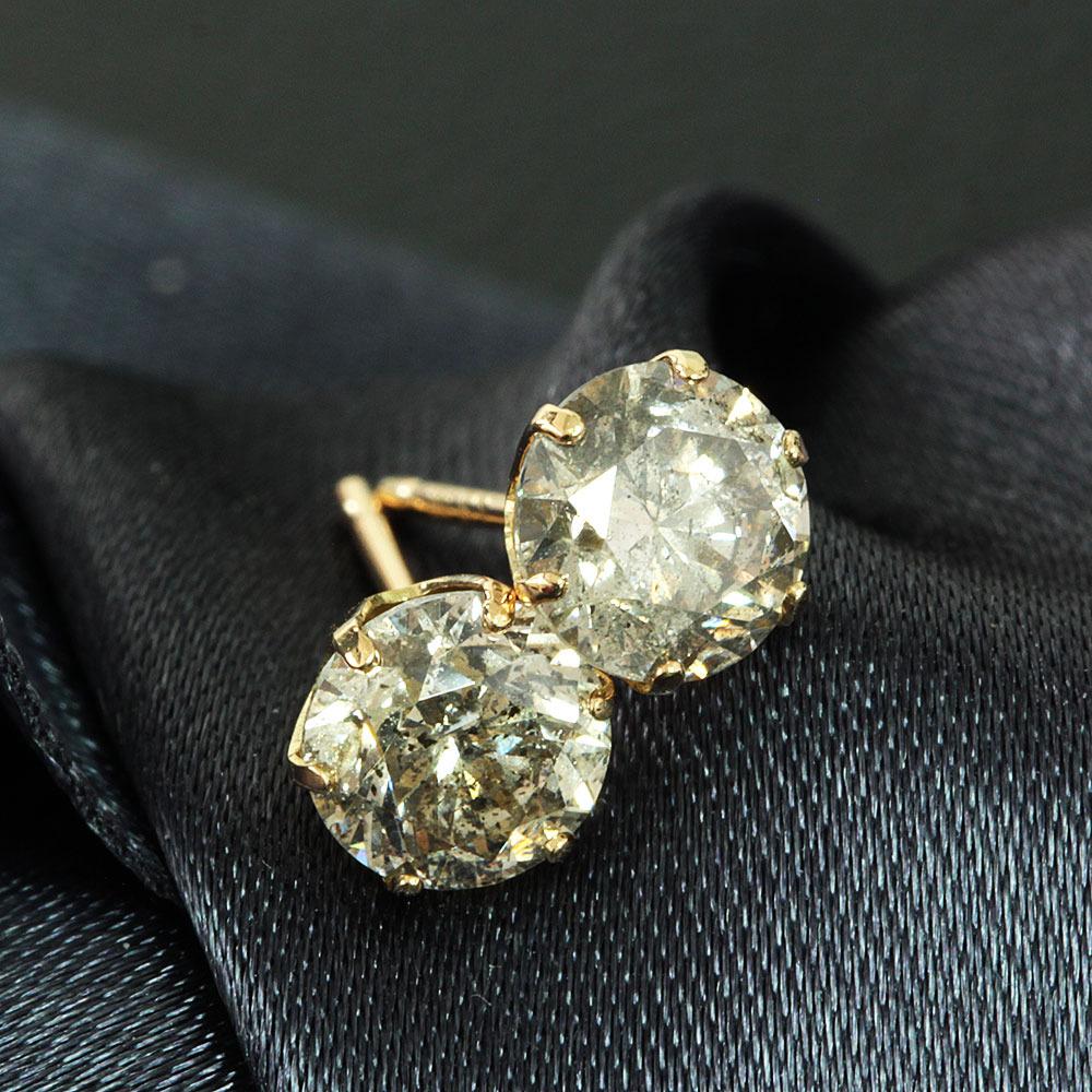 【鑑別書付】 計 1ct ダイヤモンド K18 イエローゴールド ピアス 4月誕生石 【コンビニ受取対応商品】