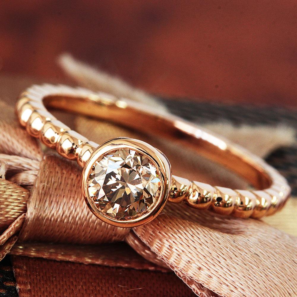【鑑定書付】 0.6ct VS-2 F.Brown ダイヤモンド K18 ピンクゴールド リング 指輪 4月誕生石[楽ギフ_包装] [送料無料]