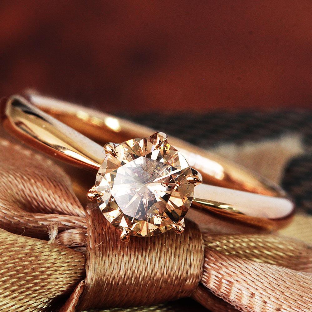 【鑑定書付】 0.6ct SI-2 F.Brown ダイヤモンド K18 ピンクゴールド リング 指輪 4月誕生石[楽ギフ_包装] [送料無料]