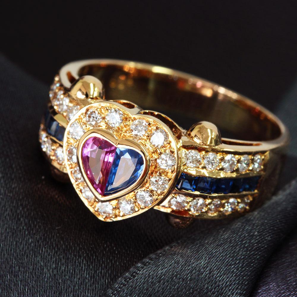 【鑑別書付】 0.8ct パープル ブルー サファイア ダイヤモンド K18 イエローゴールド ハート リング 指輪 9月誕生石// 【コンビニ受取対応商品】