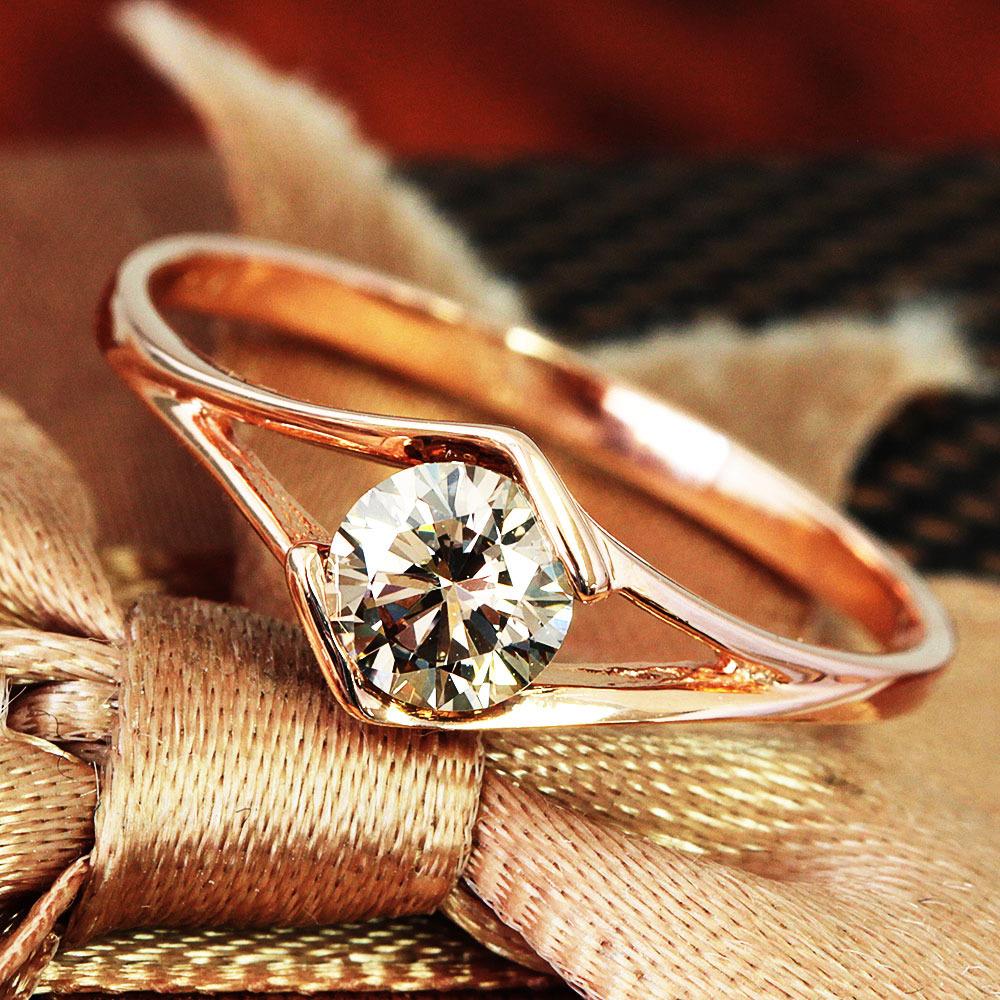 【鑑別書付】 0.4ct ダイヤモンド K18 ピンクゴールド リング 指輪 4月誕生石[楽ギフ_包装] [送料無料]