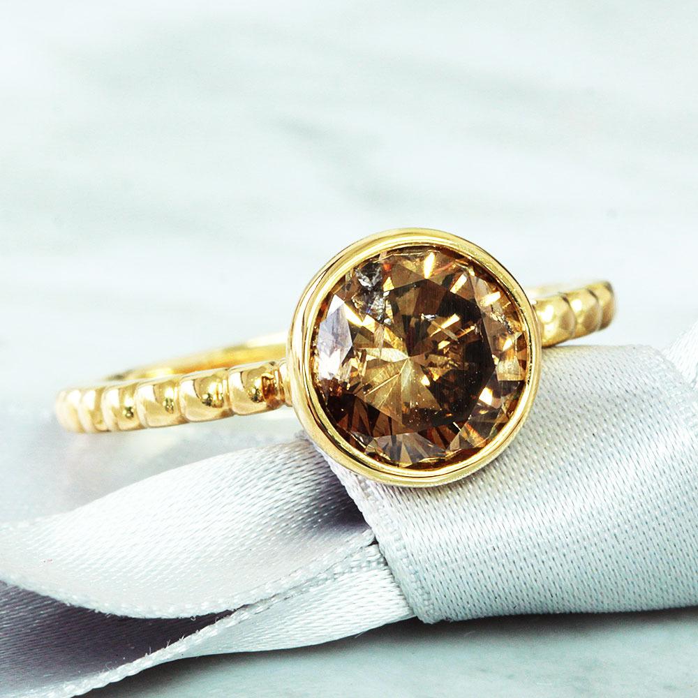 【鑑定書付】 2ct Fancy Brown I-1 ダイヤモンド K18 イエローゴールド リング 指輪 4月誕生石// 【コンビニ受取対応商品】
