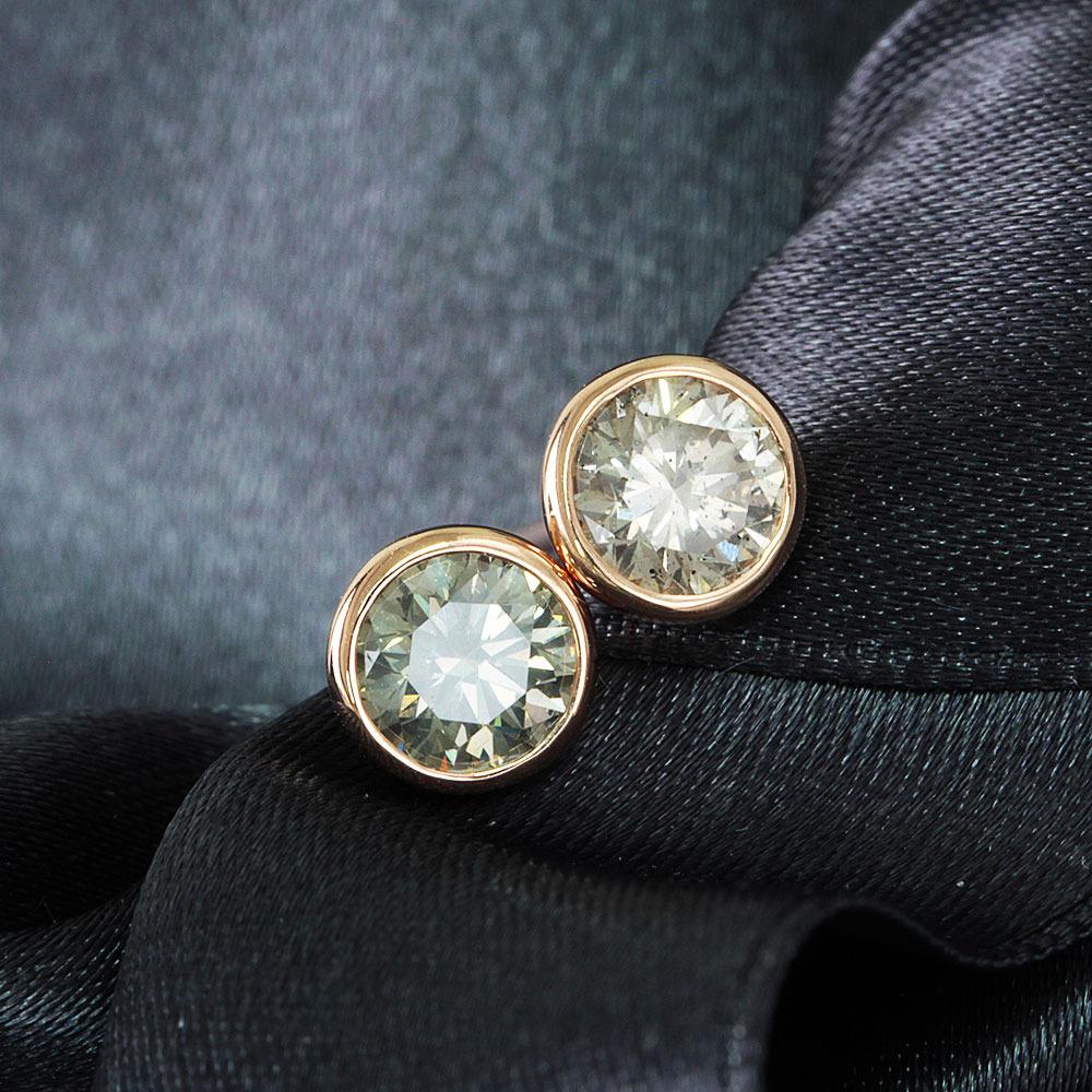 【鑑定書付】 計 1ct K SI-2 Good ダイヤモンド K18 ピンクゴールド スタッド ピアス 4月誕生石 /ダイヤモンド/プラチナ/ピアス/