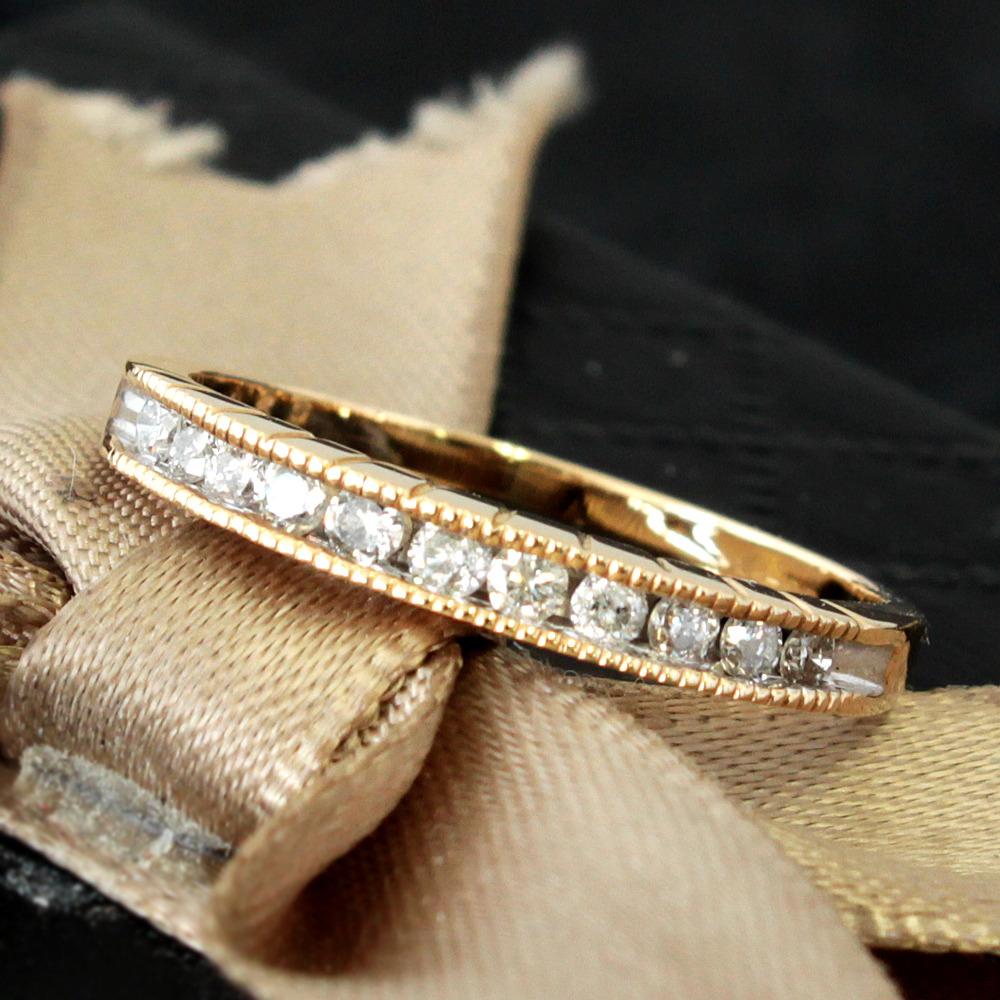 【鑑別付】 ダイヤモンド 0.25ct K14 コンビ ハーフエタニティ リング 指輪 4月誕生石//