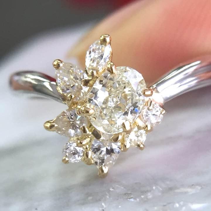 指輪 リング レディース SIクラス 0.8ct Mカラー 天然 ダイヤモンド Pt900 プラチナ K18YG 18金 コンビ 鑑定書付