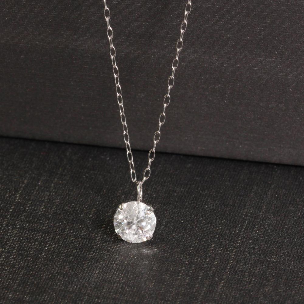 ネックレス ペンダント レディース 0.5ct Fカラー 天然 ダイヤモンド Pt900 プラチナ 4月誕生石 送料無料 鑑定書付