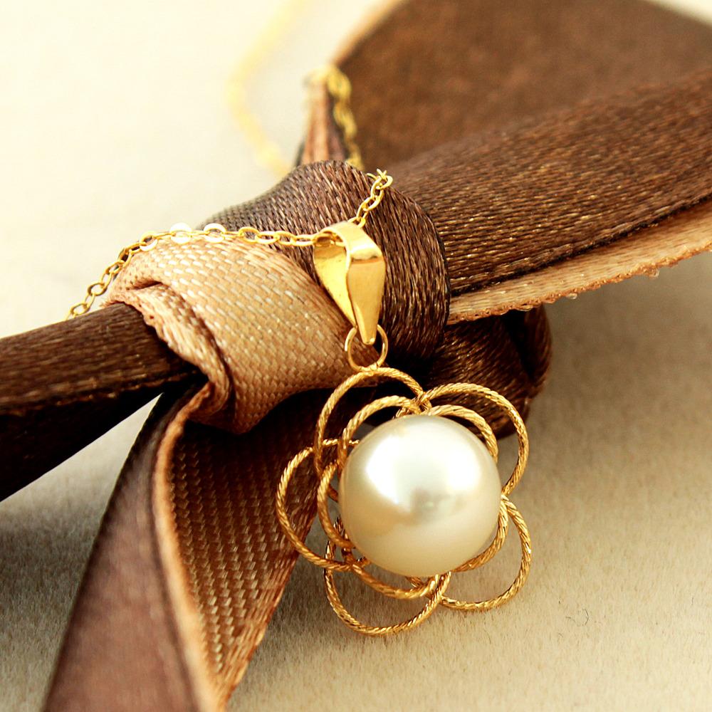 【在庫処分値下げ】 【鑑別書付】 アコヤ 真珠 7mm UP K18 フラワー デザイン ペンダント あこや 6月誕生石