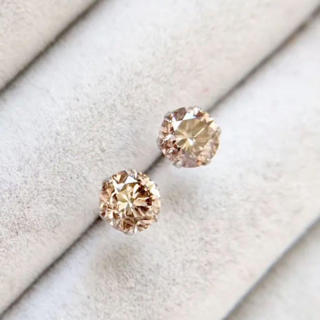 【鑑定書付】 計 1ct SI-2 L.Brown SI ダイヤモンド プラチナ Pt900 スタッド ピアス 4月誕生石 //