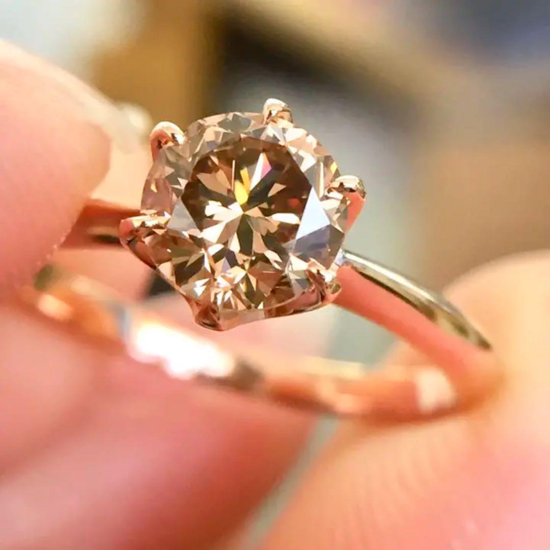 【中宝鑑定書付】 0.9ct VS-2 FancyBrown ダイヤモンド K18 ピンクゴールド リング 指輪 4月誕生石[楽ギフ_包装] [送料無料]