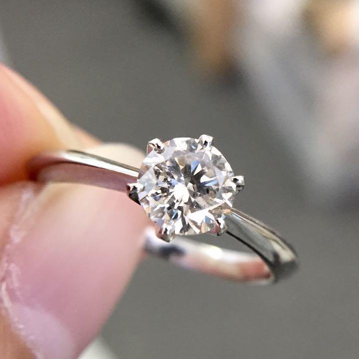 【鑑定書付】 ほぼ 0.6ct Lカラー SI-2 Good ダイヤモンド Pt900 プラチナ リング 指輪 4月誕生石