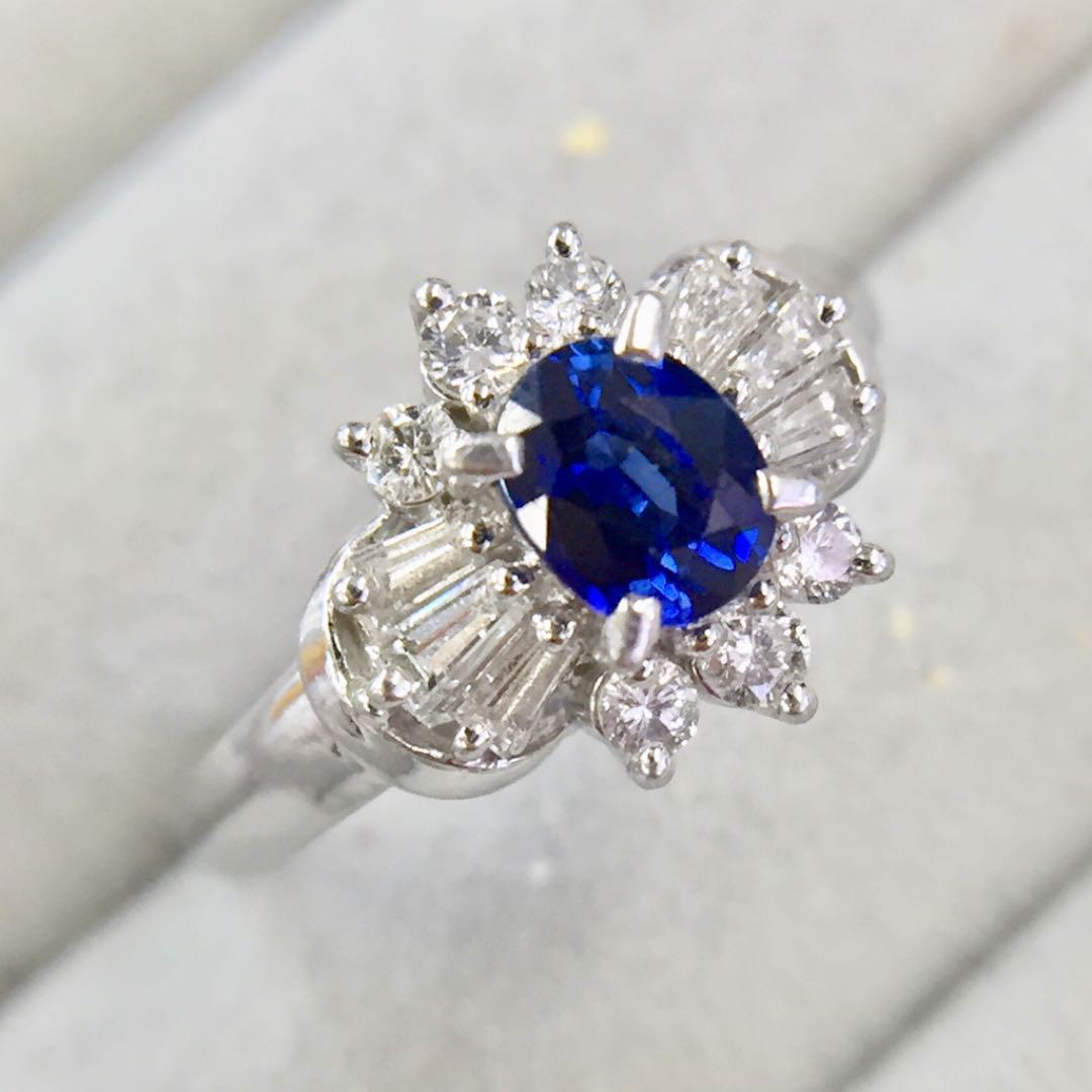 【鑑別書付】 0.5ct サファイア 0.3 ダイヤモンド Pt900 プラチナ リング 指輪 9月誕生石// 【コンビニ受取対応商品】